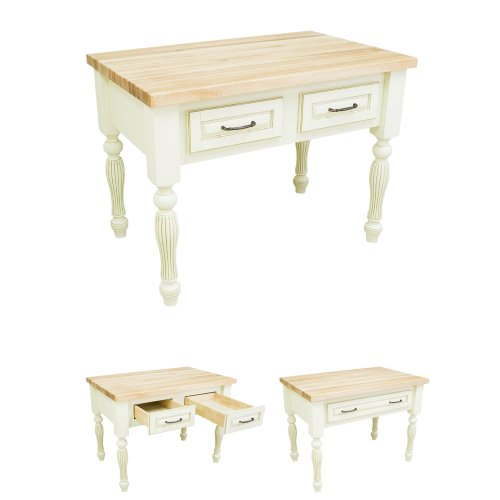 Antique White Vanity Table front-955129