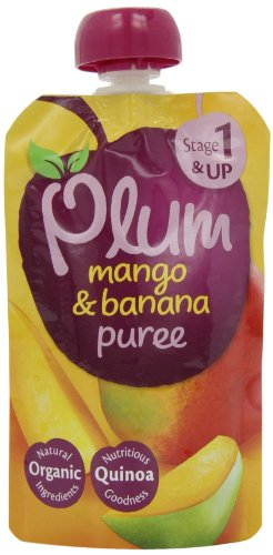 Plum Baby Organic Stage 1 Mango and Banana Pouch 100g (Pack of 8)