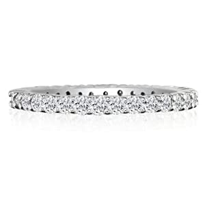 4ct Diamond Eternity Anniversary Band Ring, 18K White Gold, Ring Sizes 3 to 9 1/2, Ring Size 7 (GHSI)