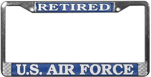 US Air Force Retired License Plate Frame Chrome Metal - Nadia D. Daviser