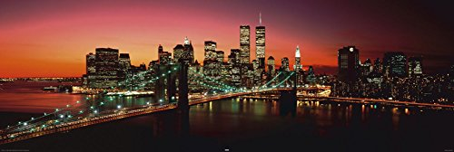 New York - Brooklyn Bridge at night Poster 62 x 21in (New York Brooklyn Bridge Poster compare prices)