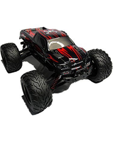 2.4GHz Radio Remote Control Charger Full Proportional 2WD Brush High Speed Monster Truck Included 1/12 Scale with Waterproof Electronics Red£¨GPTOYS Foxx S911£©