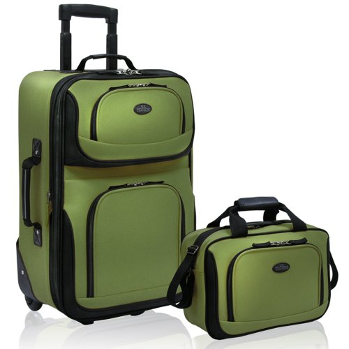 US-Traveler-Rio-Two-Piece-Expandable-Carry-On-Luggage-Set-Green-One-Size