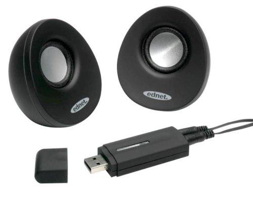 EDNET USB 2.0 Lautsprecher  schwarz USB Full Range USB-Anschluss 2x1 Watt