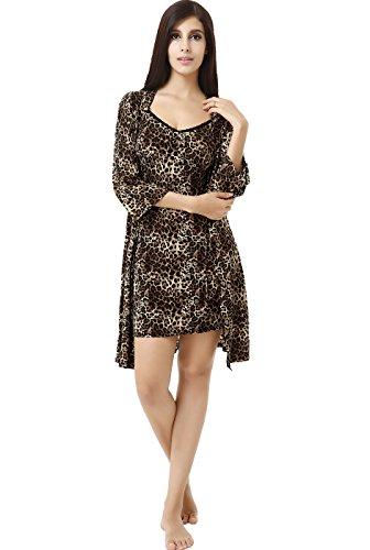 Luxury Lane Lace Me Up Leopard Print Robe And Chemise 2-Piece Set - Leopard M