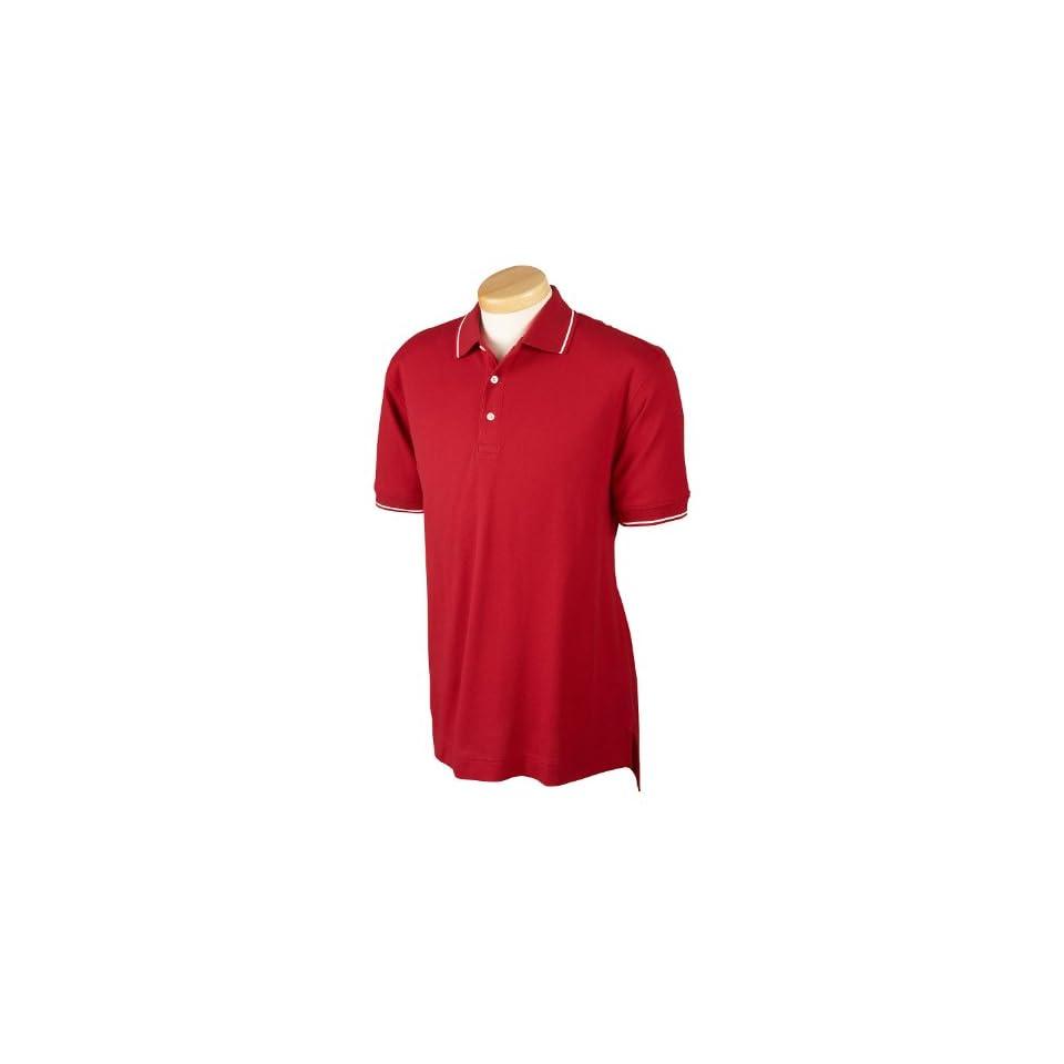 Devon & Jones Men's Pima Pique Short Sleeve Tipped Polo Shirt D113 at  Men's Clothing store
