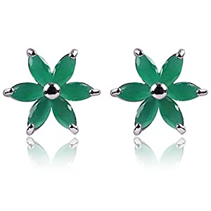 Yazilind Dazzling Rhodium Plated Green Marquise Cut Flawless Cubic Zirconia Flower Claw Post Stud Earrings