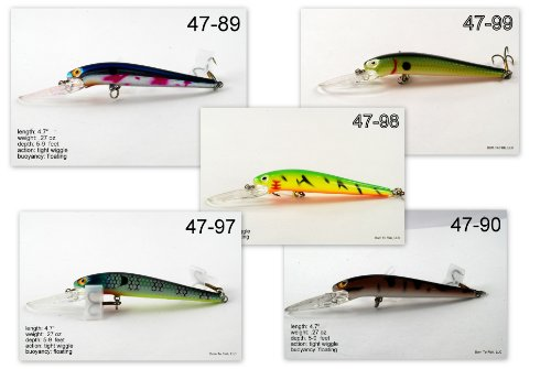 "Save Price Lot of 5 Medium Diving 4.7"" Fishing Lure Minnow Crankbaits for Northern Pike, Walleye, and Largemouth Bass  Best Offer"