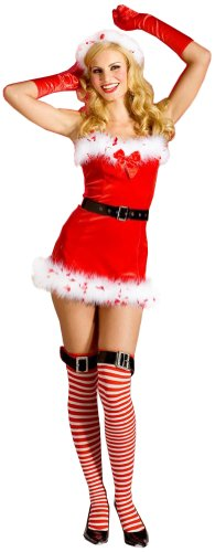 ToBeInStyle Women's Miss Clause Christmas Chemise w/ Tipped Feather & Accessories
