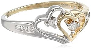 14k Two-Tone Diamond Heart Ring (1/10 cttw, I-J Color, I2-I3 Clarity), Size 6
