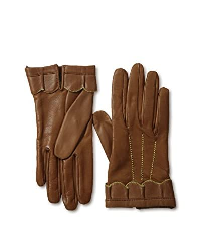Portolano Women's Scalloped Ruffle Trim Leather Gloves