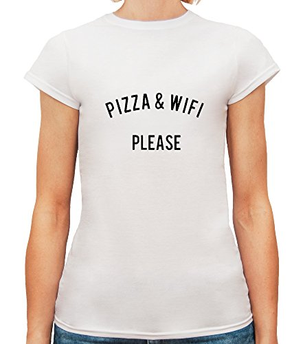 T-shirt da donna con Pizza and WiFi Please Funny Slogan Phrase stampa. Girocollo. X-Large, Bianca