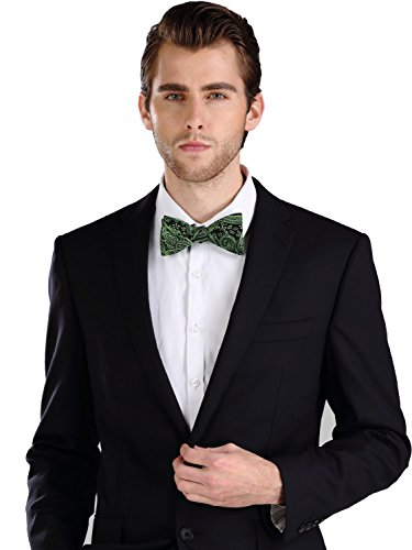 Landisun Paisley Mens Silk Bow Tie 16E01 Black Green (Green And Black Bow Ties compare prices)