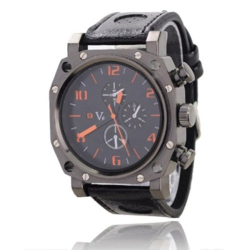Elegant V6 Pu Leather Band Embeded Three Round Dials Quartz Movement Wrist Watch-Orange