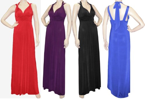 Lady Rich Halter Neck Tie Up Long Gathered Maxi (1030) Available in 4 Lengths