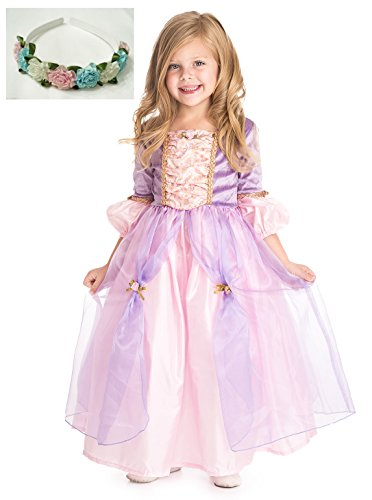 Deluxe Rapunzel Princess Dress up Costume with Pink and Gold By Little Adventures