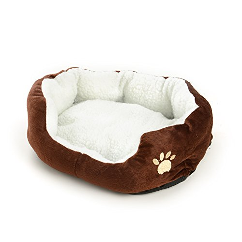 Pecute Small Dog Puppy Cat Kitten Soft Fleece Warm Bed House Kennel Plush Cozy Nest Mat Comfy Pad Medium Washable (Coffee)
