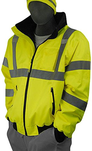Majestic Glove 75-1300 PU Coated Polyester High Visibility Bomber Jacket with Fix Quilted Liner, 4X-Large, Yellow