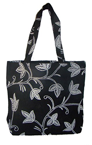 Foonty Black Print Jute Bag