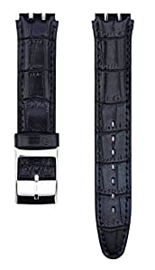 Fit Swatch SWC115Leather Watch Strap 17mm Black Similar