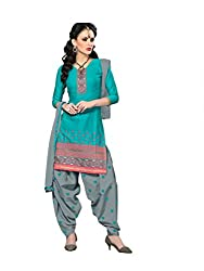 Blue Jacquard Embroidered Patiala Suit