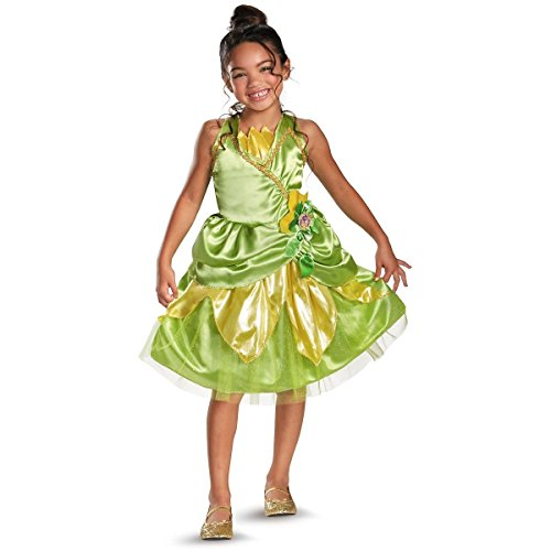 [GSG Tiana Sparkle Classic Costume Kids Princess Halloween Fancy Dress] (Kids Greek Outfit)