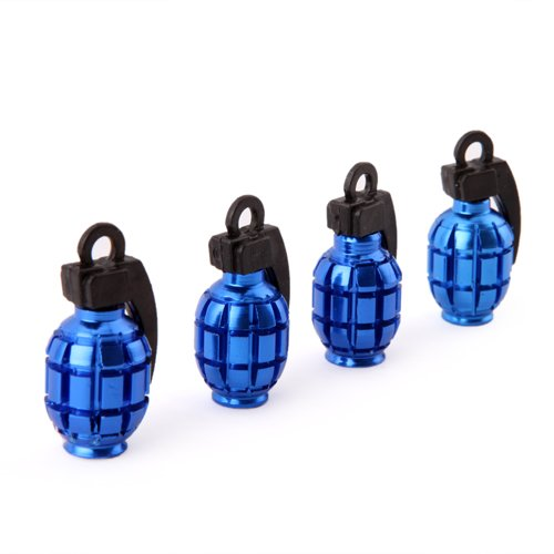 HDE (TM) Blue Grenade Shaped Aluminum Tire Valve Caps - Set of 4