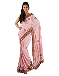 Dull Pink Casual Wear Saree Embroidery Hand Work Traditional Sari