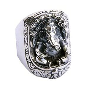 Lucky Fortuna Elephant Trunk Ring .925 Silver Jewelry Cultural Jewelers for Men-Size 9