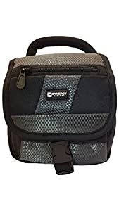 Canon PowerShot SX410 IS Digital Camera Case Camcorder and Digital Camera Case - Carry Handle & Adjustable Shoulder Strap - Black / Grey - Replacement by Synergy