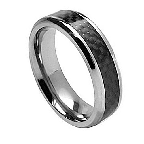 Free Engraving -7Mm Titanium Wedding Band Ring With Black Carbon Fiber Inlay (8.5)