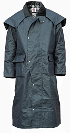 Mens Wax Cotton Stockman Long Cape Coat Jacket Weatherproof Branded Fishing Riding (XS, Black)