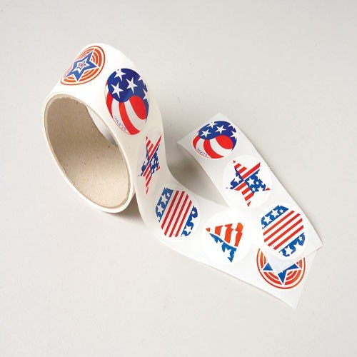 200 USA PATRIOTIC Stickers (2 Rolls of 100 ea) 4th of JULY - US FLAG SUMMER Crafts - SCRAPBOOKING - TEACHER Daycare DENTIST - 1