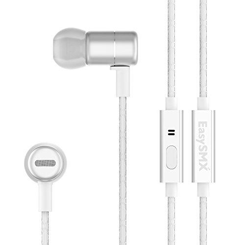 EasySMX KT-202 Auricolari in-ear con Isolamento dei Rumori Audio Stereo Dual Driver Microfono e Tappi in Silicone per Jogging e Viaggi in Metallo di Alta Qualità