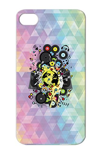 Earth Music Headphone Dj Record Recorder Music Miscellaneous Globe Speaker Gramophone Lp Black For Iphone 4/4S Case Cover