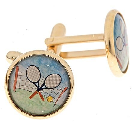 Gold plated cufflinks with an image of crossed tennis racquets with presentation box. Made in the U.S.A