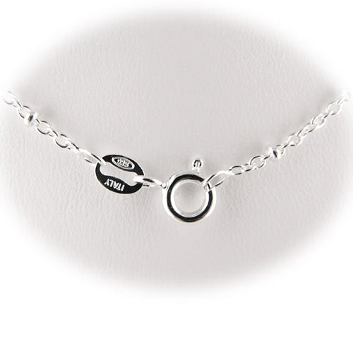 Sterling Silver Rolo Oval Cable Chain with Beads Necklace Nickel Free for Child Italy 14 inch