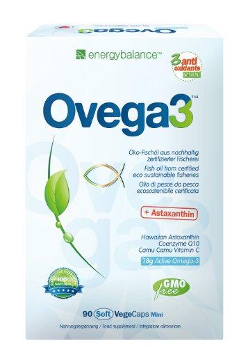 Ovega3 90 fish oil capsules with 3 natural antioxidant Q10, vitamin C + E
