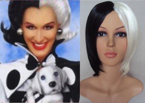 Deluxe Fashionable Cruella Deville Style White & Black Short Bob Wig