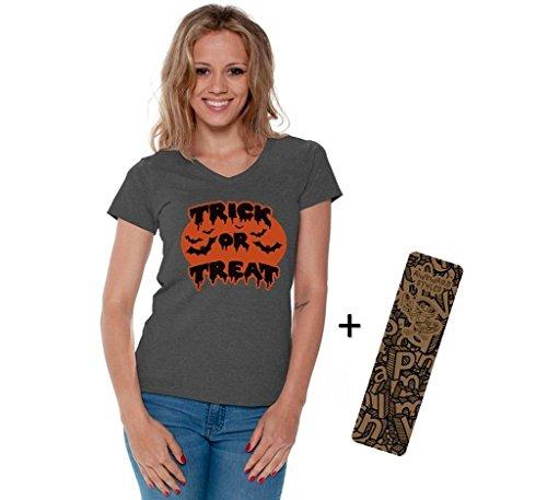 Women's Halloween Shirt Trick Or Treat V-neck T-shirt Bats Costume + Bookmark L Charcoal (Hocus Pocus Costume Shop)
