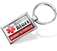 "Neonblond Keychains Medical Alert Red ""Only gluten Free Allergy Safe"" - Key chain ring"