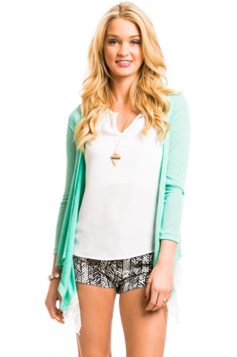 Angled Lace Panel Cardigan In Mint