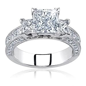 2.00 Carat Total Princess Cut Certified Diamond Three 3 Stone Engagement Anniversary Ring 14k Solid White Gold D VS2/SI1