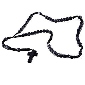 DonDon Holz Rosenkranz mit schwarzen Perlen