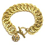 Catherine Popesco 14K Gold Plated Chunky Circle Link Bracelet with Swarovski Crystal Ball Charm