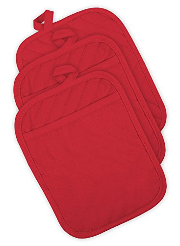 DII 100% Cotton, Machine Washable, Heat Resistant, Quilted Pocket Potholder for Cooking and Baking, 8 x 8