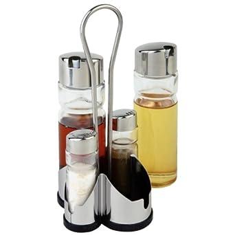 Complete cruet set and stand salt pepper vinegar oil salt and pepper shaker sets amazon - Salt and pepper cruet set ...