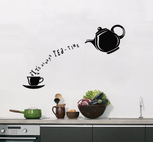 Housewares Vinyl Decal Always Tea Time Cup Teapot Home Wall Art Decor Removable Stylish Sticker Mural Unique Design For Room Kitchen Shop Cafe