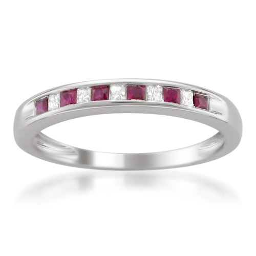 Cheapest 14k White Gold Princess-cut Diamond and Red Ruby Wedding Band Ring (1/3 cttw, H-I, I1-I2)