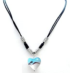 "Blue and White Love Heart Glass Lampwork Pendant on Cotton Wax Cord with Tibetian Metal Beads - 18"" Adjustable"